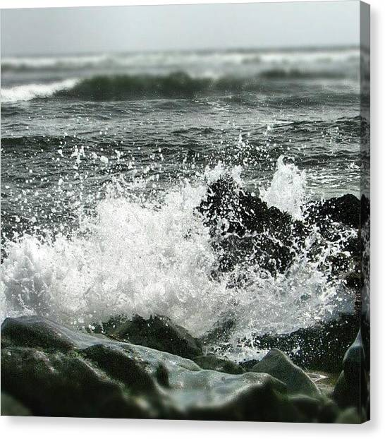 Peruvian Canvas Print - #waves On #lima #beach by Yannick Menard