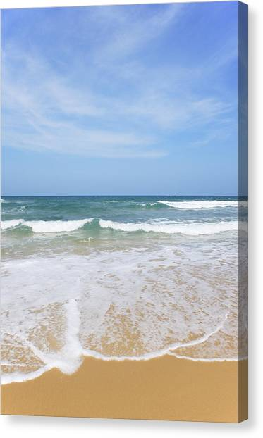 Yen Canvas Print - Waves Rolling Onto Tropical Beach by Wilfried Krecichwost