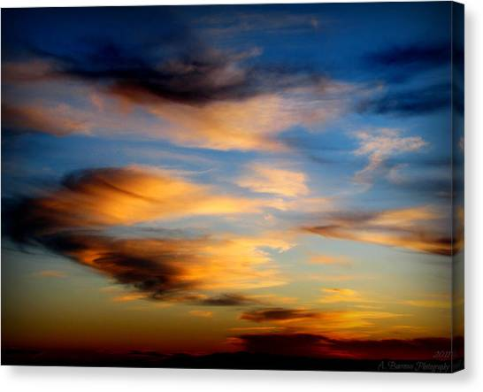 Wavy Sunset Clouds Canvas Print by Aaron Burrows