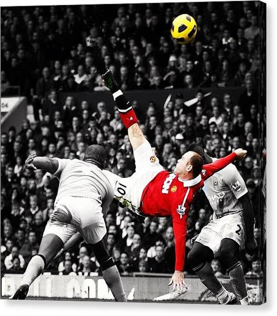 Manchester United Canvas Print - Wayne Rooney Overhead (colour Splash) by Paul Mcdonnell
