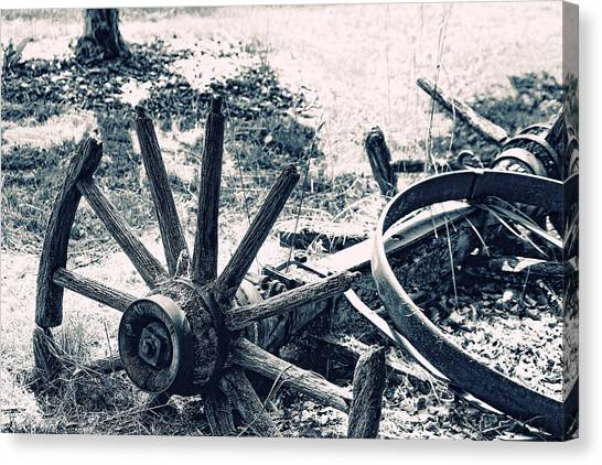 Weathered Wagon Wheel Broken Down Canvas Print