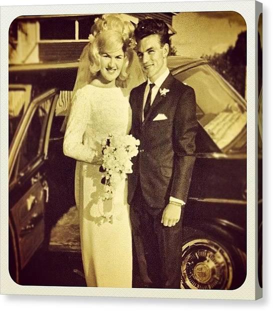 Wedding Canvas Print - #wedding #mum #dad #parents #love #1966 by Regan Webb