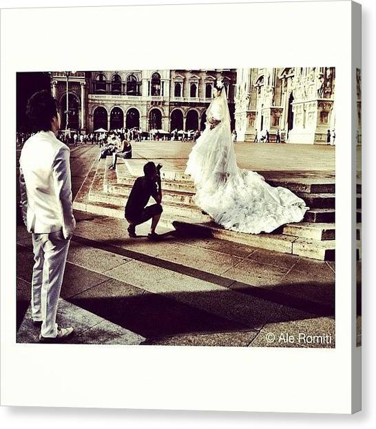 Wedding Canvas Print - Wedding Shooting In Piazza Duomo by Ale Romiti 🇮🇹📷👣