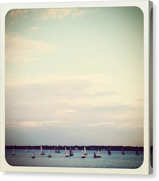 Racing Canvas Print - #wednesday #sailboat #races #instagram by Louis Bruno