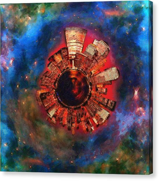 Lavendar Canvas Print - Wee Manhattan Planet - Artist Rendition by Nikki Marie Smith