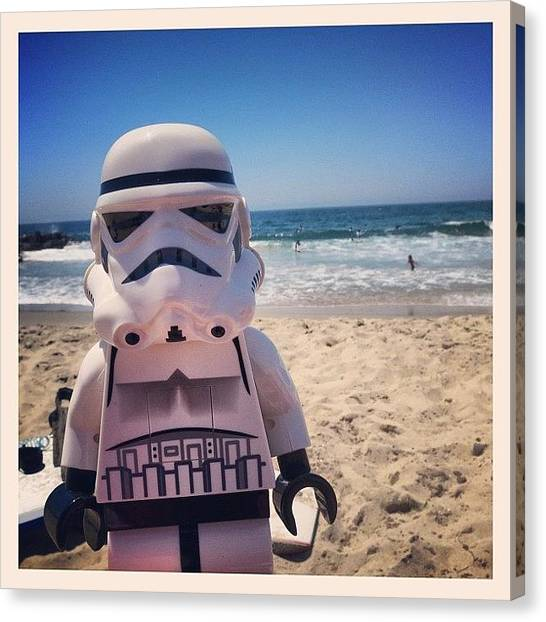 Stormtrooper Canvas Print - Went To The Beach Today #toy by Timmy Yang