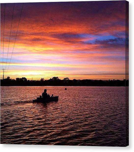Kayaks Canvas Print - West Lakes Sunrise. #adelaide by Rhys Moult