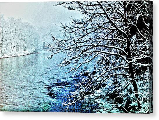 West River Snow Canvas Print