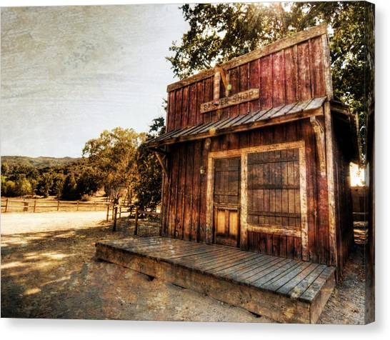 Bishop Hill Canvas Print - Western Barber Shop by Natasha Bishop