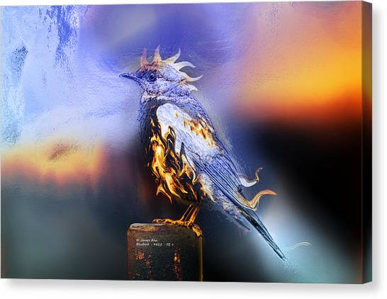 Western Bluebird Fire And Ice Canvas Print