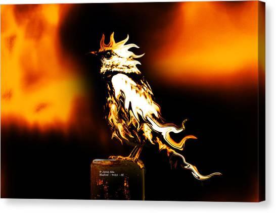 Western Bluebird Fire Canvas Print