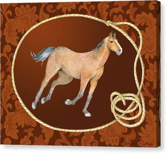 Western Roundup Running Horse Canvas Print