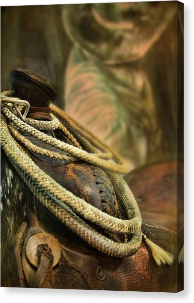 Cowboys Canvas Print - Western Style Saddle And Cowboy by Melinda Moore