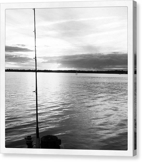 Fishing Poles Canvas Print - Wettin' A Line by Jason Ogle