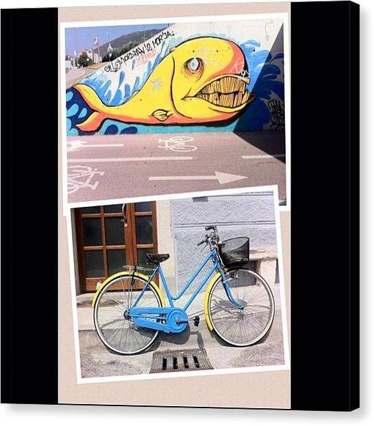 Whales Canvas Print - Whale & Bike by Giuseppe Anello