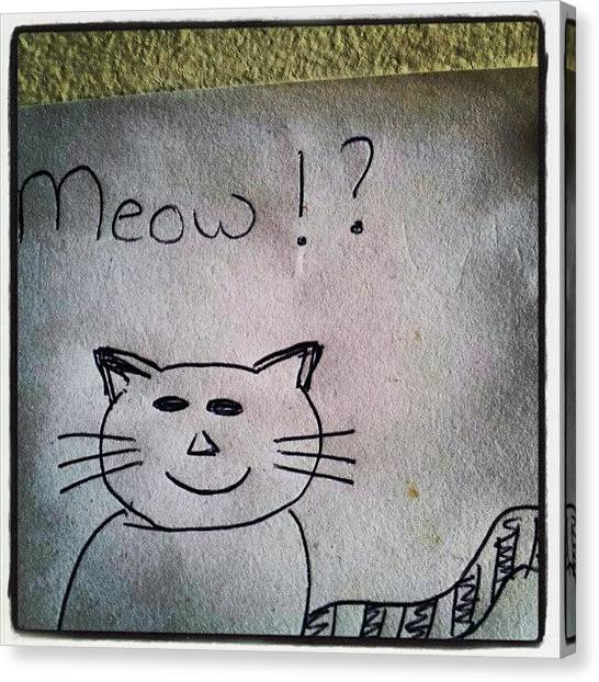 Follow Canvas Print - What My Room Mates Draw! #cat #drawing by Abdelrahman Alawwad