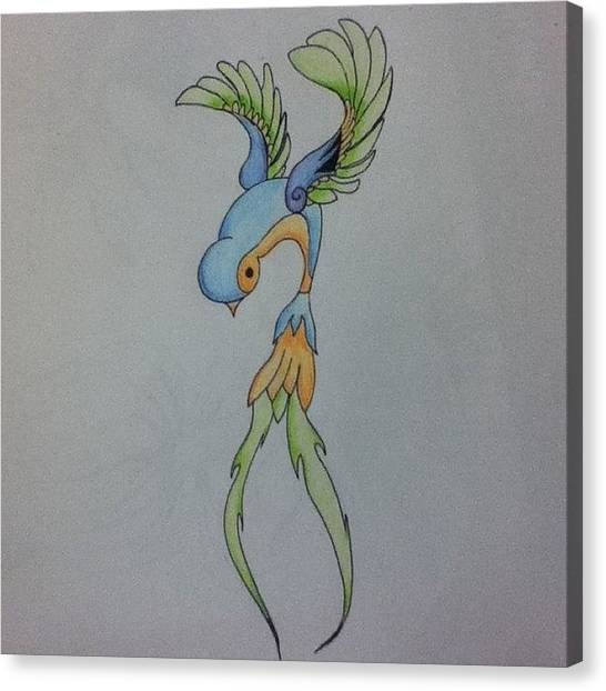 Swallows Canvas Print - Whats Everybody Think? #tattoo #flash by Tiffany Harned