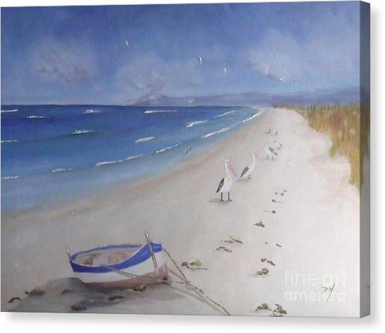 What's In The Boat Canvas Print by Debra Piro