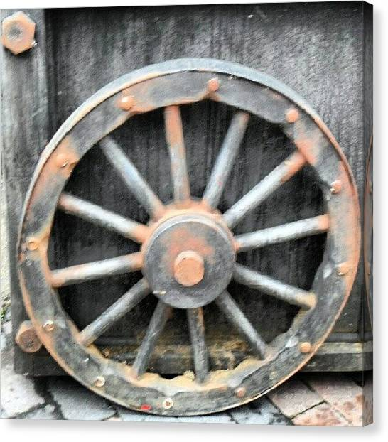 Saws Canvas Print - #wheel #spokes #nuts #bolts #metal #old by Kevin Zoller