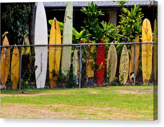 Surfboard Fence Canvas Print - When Surfboards Go Bad by Mitch Shindelbower