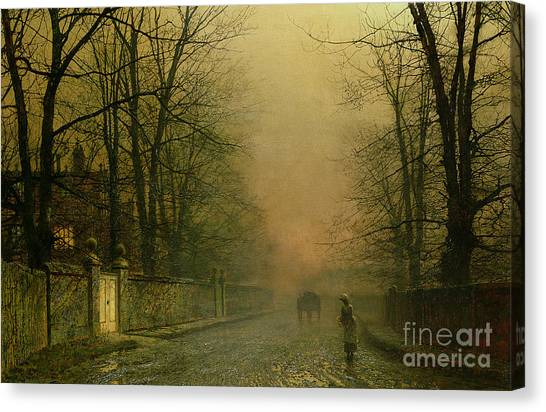 Forest Paths Canvas Print - Where The Pale Moonbeams Linger  by John Atkinson Grimshaw