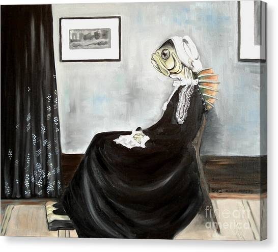 Whistler's Mother As A Fish Canvas Print by Ellen Marcus
