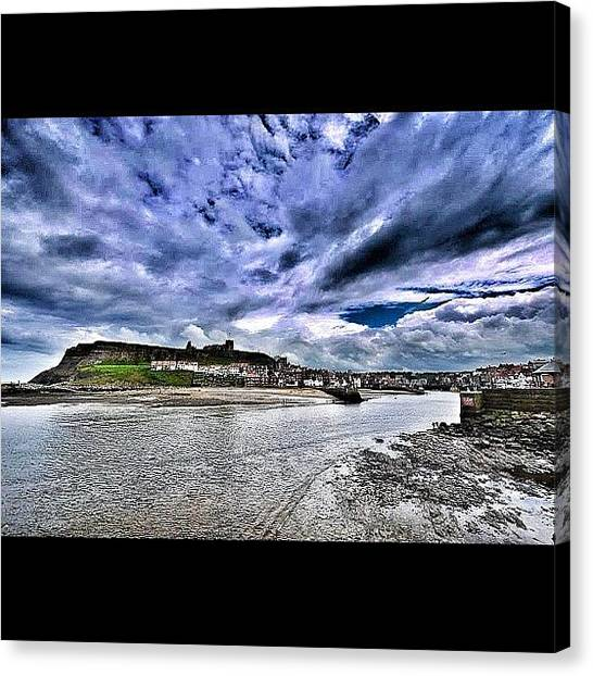 Beach Cliffs Canvas Print - Whitby Harbour by Leonard Lee