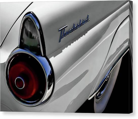Ford Canvas Print - White 1955 T-bird by Douglas Pittman
