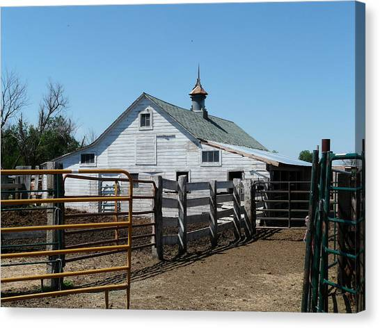 White Barn  And Corrals Canvas Print by Bobbylee Farrier