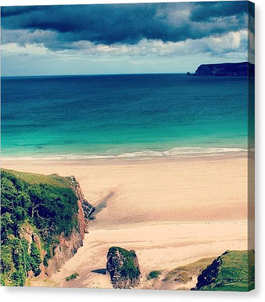 Seas Canvas Print - White Beach In Scotland2 by Luisa Azzolini