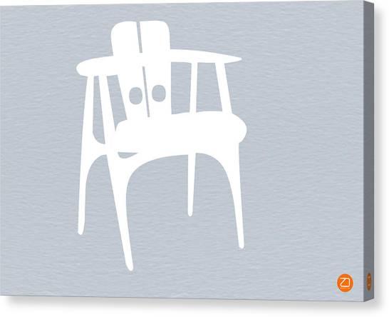 Mid Century Furniture Canvas Print - White Chair by Naxart Studio