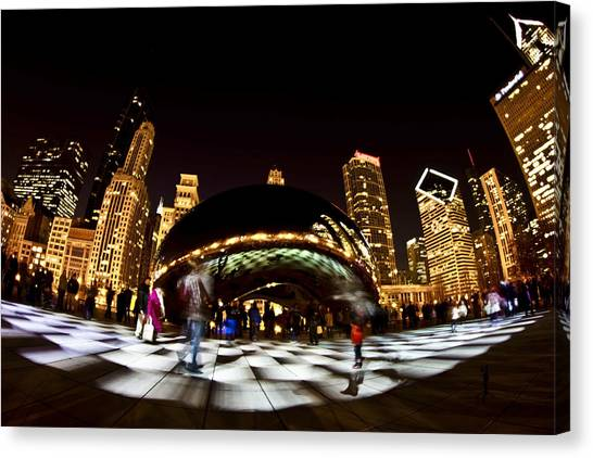 Cloudgate Canvas Print - White Checkered Light By Chicago's Bean by Sven Brogren