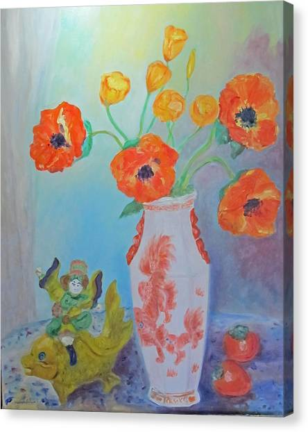 White China Vase With Poppies Canvas Print
