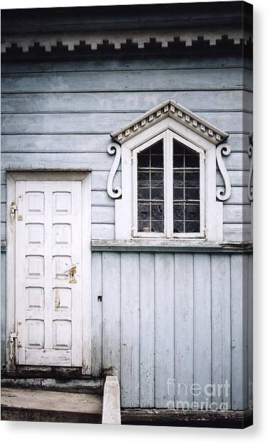 White Doors And Window On Bluish Wooden Wall Canvas Print