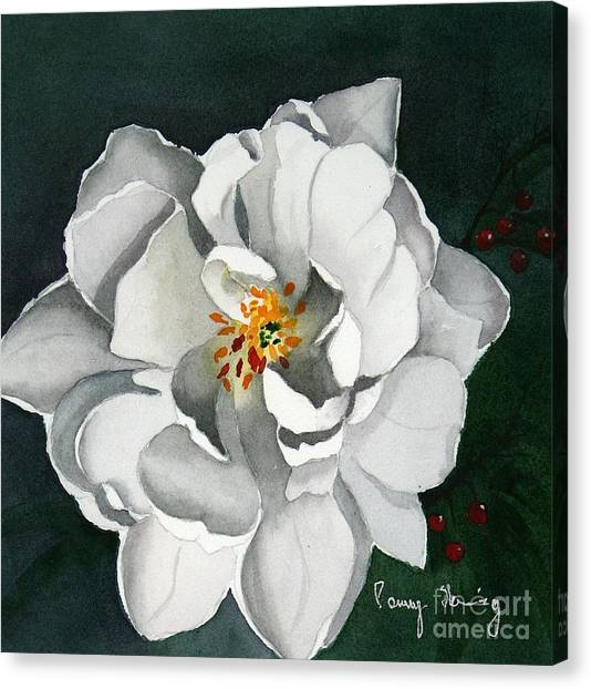 White Double Tulip Canvas Print