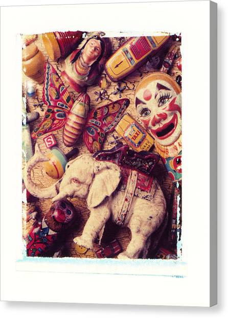 Vintage Polaroid Canvas Print - White Elephant by Garry Gay