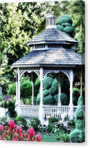 White Gazebo In Garden Paradise Canvas Print