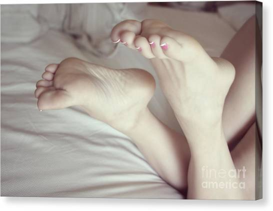 White Girl Feet Canvas Print by Tos Photos