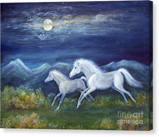 White Horses In Moonlight Canvas Print by Maureen Ida Farley