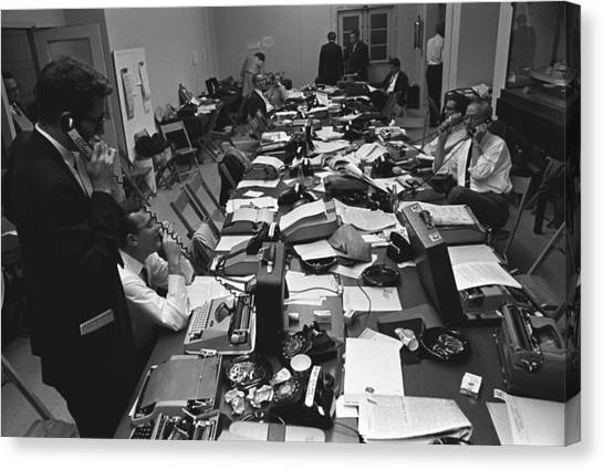 Lyndon Johnson Canvas Print - White House Press Room During President by Everett