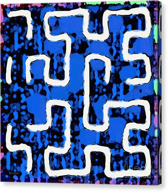 Canvas Print featuring the digital art White Maze by Dee Flouton