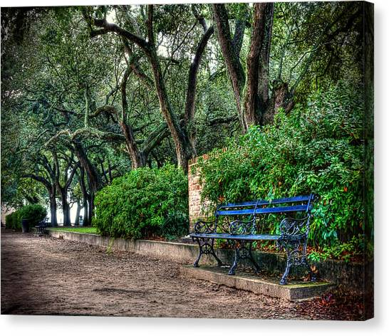 White Point Gardens Bench Canvas Print by Jenny Ellen Photography