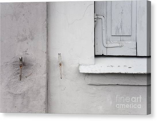 White Wall Gray Shutters Canvas Print