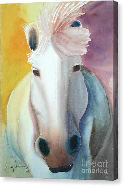White Work Horse Canvas Print