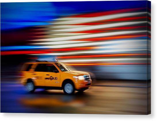 The City That Never Sleeps Canvas Print - Whizzing Along by Susan Candelario