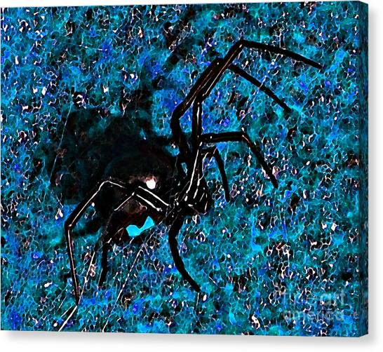 Black Widow Canvas Print - Wicked Widow - Blue by Al Powell Photography USA