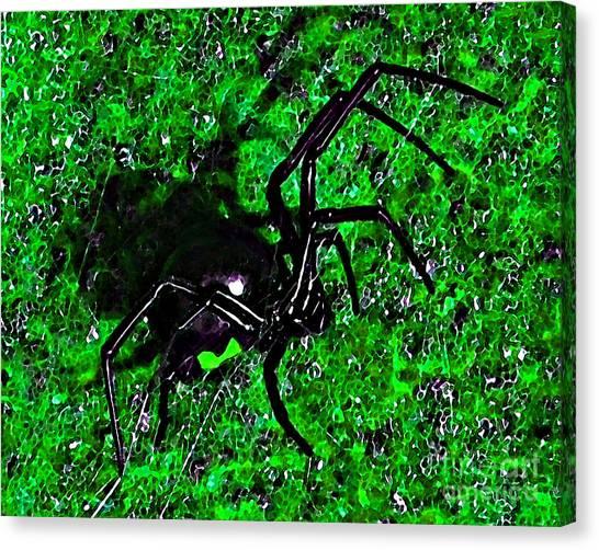 Black Widow Canvas Print - Wicked Widow - Green by Al Powell Photography USA
