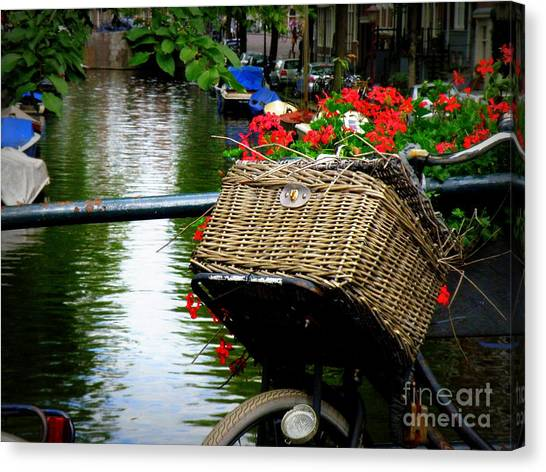 Wicker Bike Basket With Flowers Canvas Print
