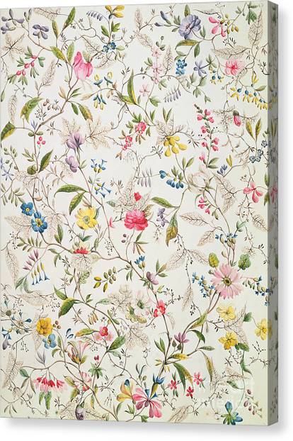 Repeat Canvas Print - Wild Flowers Design For Silk Material by William Kilburn