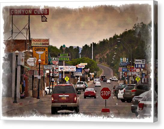 Historic Route 66 Canvas Print - Williams Arizona - Impressions by Ricky Barnard
